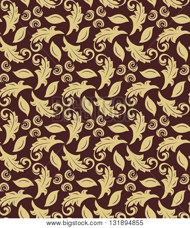 Floral golden ornament. Seamless abstract classic fine pattern