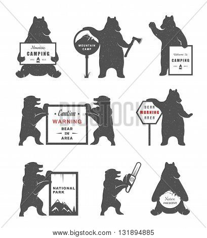 Vintage Illustration bear with sign Warning Bears and lumberjack. Bear on a white background for camping signs and billboards