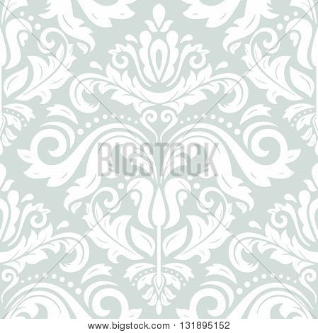 Damask seamless light blue and white ornament. Traditional pattern. Classic oriental background