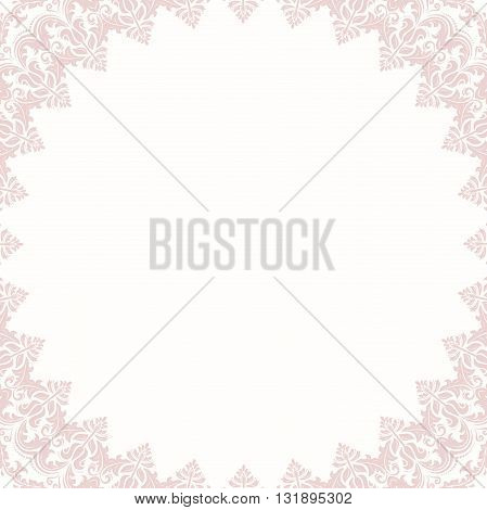 Classic frame with arabesques and orient elements. Abstract fine light pink ornament
