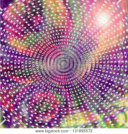 Abstract coloring gradients background with visual lens flare,zigzag and twirl effects,binary code numbers one and zero
