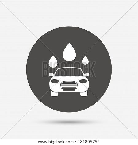 Car wash icon. Automated teller carwash symbol. Water drops signs. Gray circle button with icon. Vector