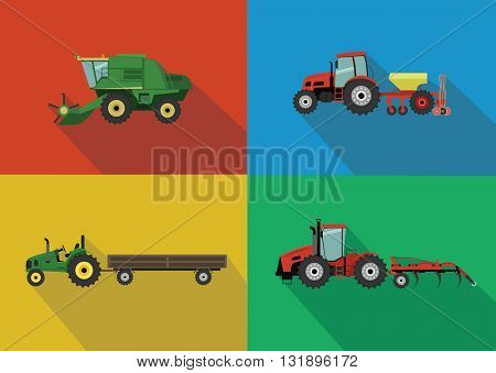 Set of the tractors and harvesters. Agricultural illustration in flat design style vector.