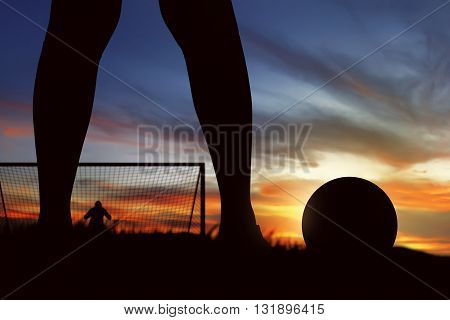 Silhouette Of Soccer Player Ready To Execute Penalty Kick