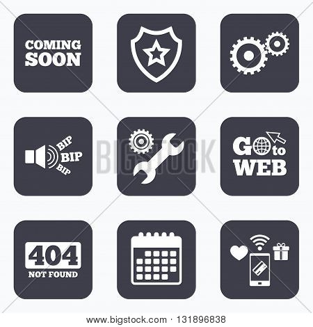 Mobile payments, wifi and calendar icons. Coming soon icon. Repair service tool and gear symbols. Wrench sign. 404 Not found. Go to web symbol.