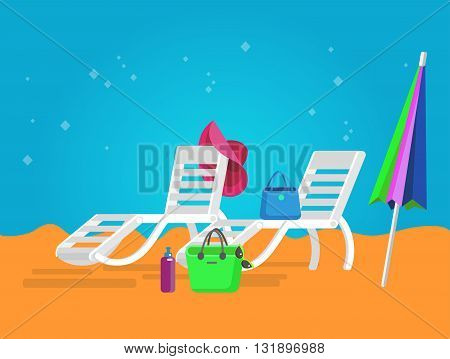vector beach chaise longue, beach chaise longue illustration on background. Vector beach chaise longue