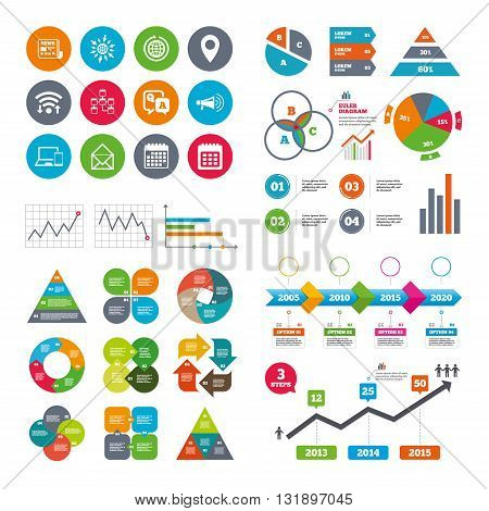 Wifi, calendar and web icons. Communication icons. News, chat messages and calendar signs. E-mail, question and answer symbols. Diagram charts design.