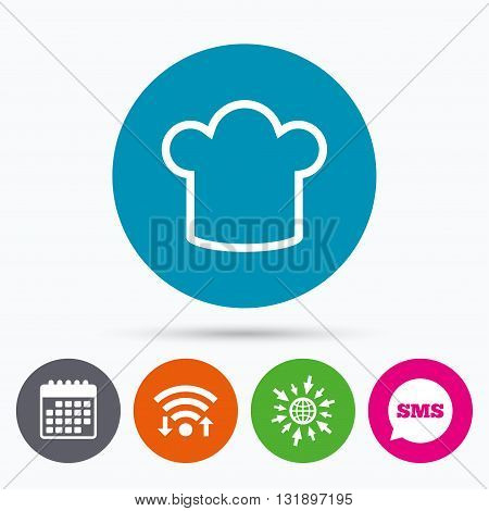 Wifi, Sms and calendar icons. Chef hat sign icon. Cooking symbol. Cooks hat. Go to web globe.