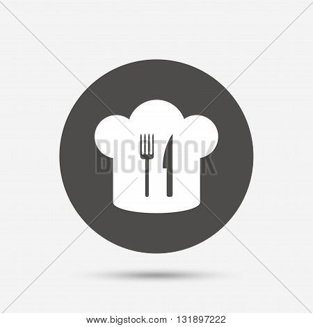 Chef hat sign icon. Cooking symbol. Cooks hat with fork and knife. Gray circle button with icon. Vector