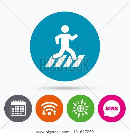 Wifi, Sms and calendar icons. Crosswalk icon. Crossing street sign. Go to web globe.
