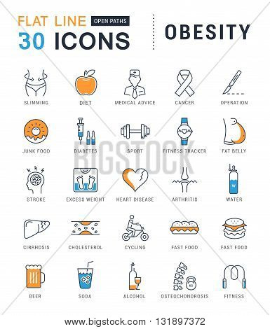 Set vector line icons in flat design obesity junk food and health with elements for mobile concepts and web apps. Collection modern infographic logo and pictogram.