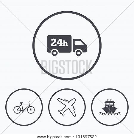 Cargo truck and shipping icons. Shipping and eco bicycle delivery signs. Transport symbols. 24h service. Icons in circles.