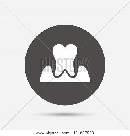 Parodontosis tooth icon. Gingivitis sign. Inflammation of gums symbol. Gray circle button with icon. Vector
