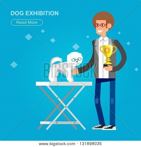Vector detailed character man with dogs on pet show competition. Pomeranian dog winning the prize on  pet show. Vector pet show