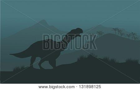 Iguanodon dinosaurs of silhouette at the night