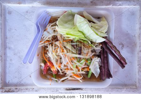 Thailand North-Eastern Food somtum, Thai easy food