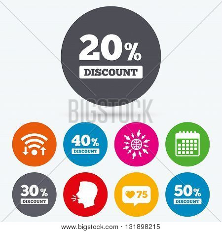 Wifi, like counter and calendar icons. Sale discount icons. Special offer price signs. 20, 30, 40 and 50 percent off reduction symbols. Human talk, go to web.