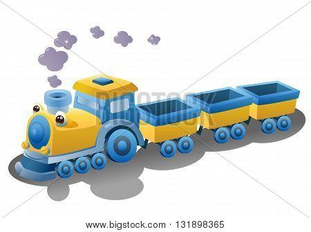 illustration of a train transportation vehicle on isolated white background