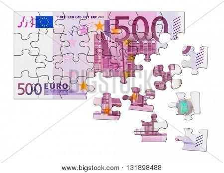 Money puzzle isolated on white background