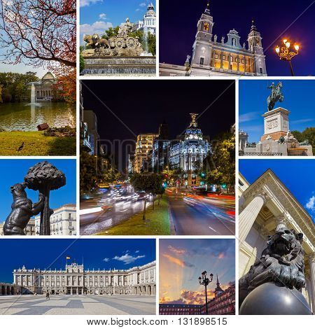 Collage of Madrid Spain images - travel and architecture background (my photos)