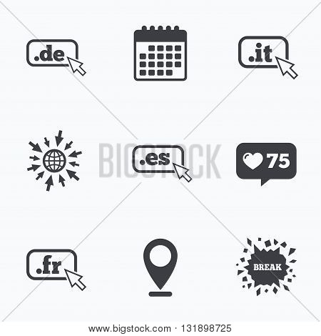 Calendar, like counter and go to web icons. Top-level internet domain icons. De, It, Es and Fr symbols with cursor pointer. Unique national DNS names. Location pointer.