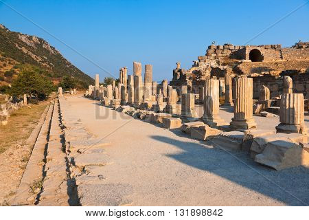 Ancient ruins in Ephesus Turkey - archeology background