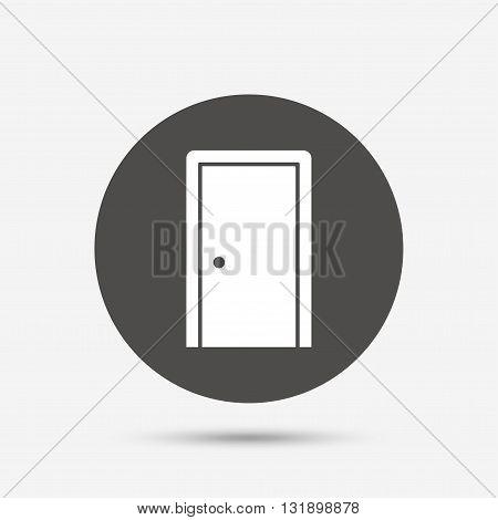 Door sign icon. Enter or exit symbol. Internal door. Gray circle button with icon. Vector
