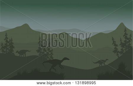 Dinosaur eoraptor in hills at the night