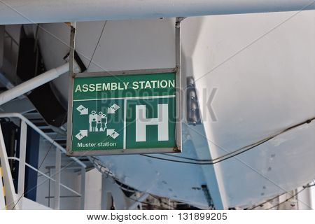 An assembly station station for emergency evacuation of a cruise ship.