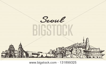 Seoul skyline South Korea vintage engraved illustration hand drawn sketch
