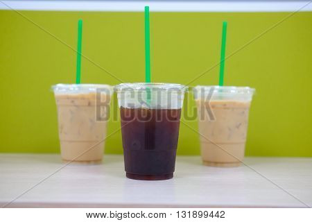 Different three cup of ice coffee on table