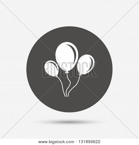 Balloon sign icon. Birthday air balloon with rope or ribbon symbol. Gray circle button with icon. Vector
