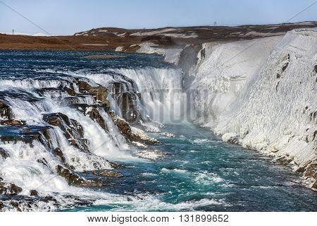 Photo of a Breathtaking Waterfall GullFoss in Iceland