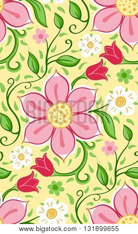 Vector floral pattern with flowers and leaves.