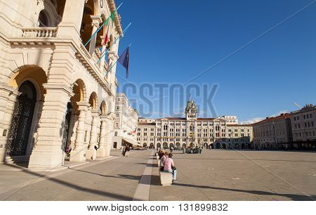 TRIESTE ITALY - MAY 04: View of the central Trieste square on May 04 2016