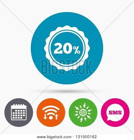 Wifi, Sms and calendar icons. 20 percent discount sign icon. Sale symbol. Special offer label. Go to web globe.