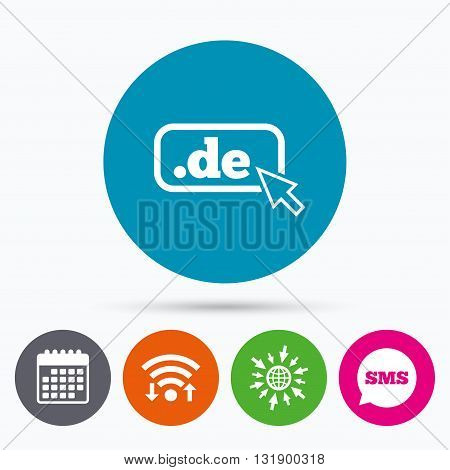 Wifi, Sms and calendar icons. Domain DE sign icon. Top-level internet domain symbol with cursor pointer. Go to web globe.
