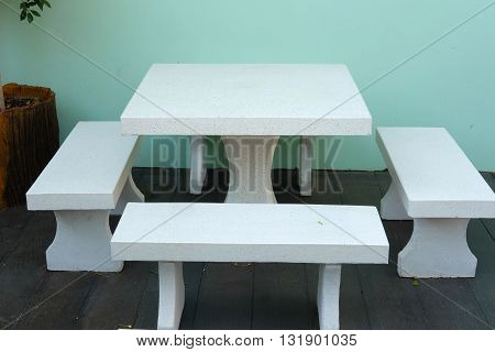Sets of marble bench in mini garden
