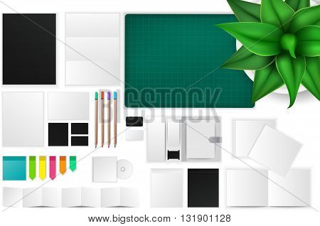 Office and working space mockup icon with many objects and stationary tools create by vector