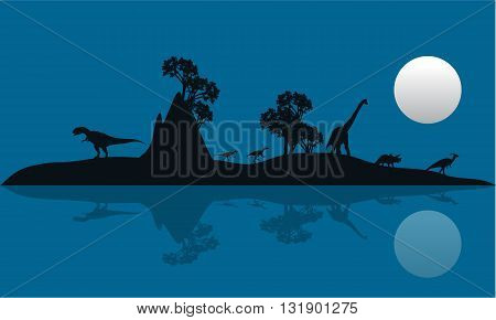 Silhouette of Dinosaur in island at the night