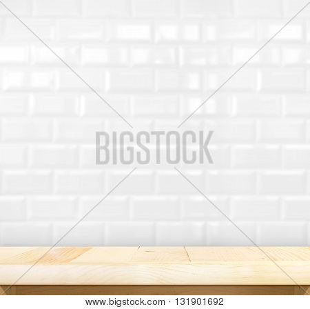 empty wood table with white tile ceramic wall, mock up for display of product