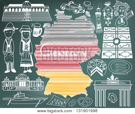 Travel to Germany doodle drawing icon with culture costume landmark and cuisine tourism concept in blackboard background create by vector