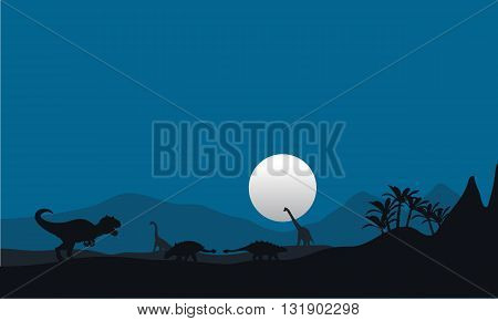 At night silhouette of dinosaur with moon