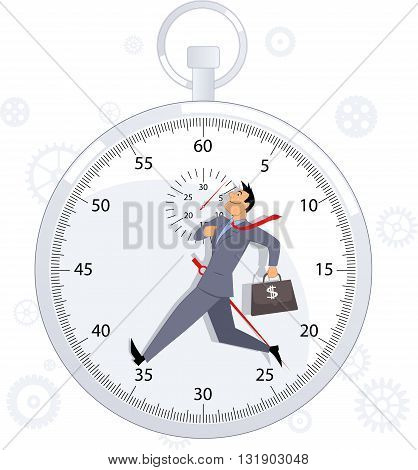 Time management. Energetic businessman marching with a stop-watch on the background