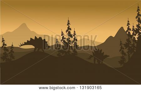 Landscape Stegosaurus silhouette in hills at the morning