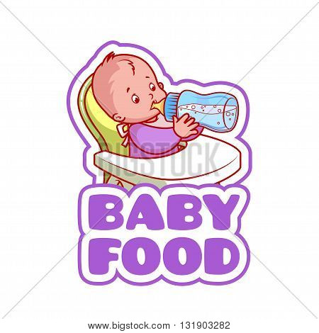 Cute kid in baby highchair with bottle of milk. Logo for baby food company. Vector clip-art illustration isolated on a white background.