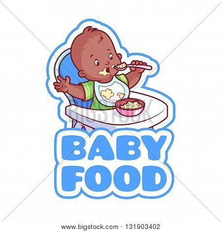 Cute african american kid in baby highchair with plate of porridge. Logo for baby food company. Vector clip-art illustration isolated on a white background.