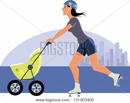 Young woman with a stroller roller skating with skyscrapers in the background