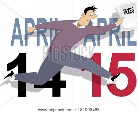 Tax day in USA. Anxious man running with tax forms, April 14 and 15 calendar pages are on the background