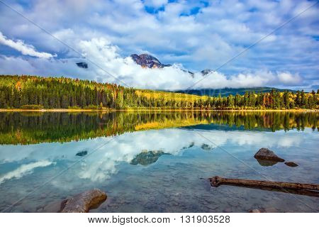 Charming Patricia Lake amongst the evergreen forests and yellow bushes. Warm autumn in the Rocky Mountains of Canada